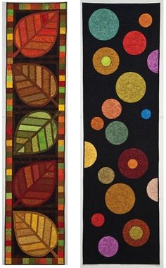 Kim Schaefer's Skinny Quilts.just love the designs and colours!nspiration for rug hooking Look at these skinny quilts. Swoon I'm seeing quilted leaves then applique them on background fabric Skinny Quilts (perfect for the end of a bed) or Table Runner- Quilting Projects, Quilting Designs, Sewing Projects, Quilted Table Toppers, Quilted Table Runners, Patch Quilt, Small Quilts, Mini Quilts, Wool Applique