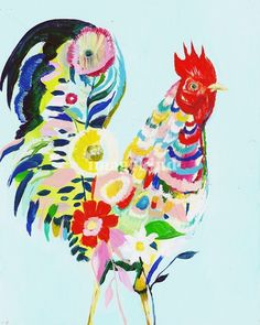 Rooster by Starla Halfmann, Austin, Texas artist whose 'focus is on pushing the limits of impasto style paintings combined with mixed media.'