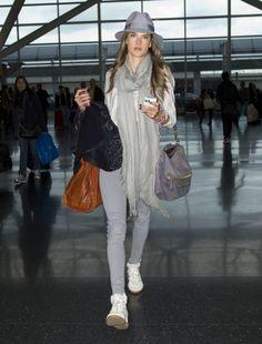 #JFK Celeb sighting: Alessandra Ambrosio arrives to catch a flight at JFK airport in New York City.