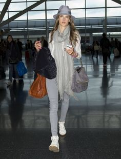 Alessandra Ambrosio arrives to catch a flight at JFK airport in New York City.