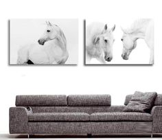 2 Pieces Modern White Horses Wall Paintings on Canvas