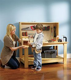 Kids wooden workbench plans See more about kids woodworking projects kid kitchen and kids tool bench Projects Work Benches Diy Workbenches For Kids Kids Workbenches Kids If you know a kid who s bursting with inventive ideas this workbench is the Then atta Kids Workbench, Woodworking Workbench, Custom Woodworking, Woodworking Magazine, Popular Woodworking, Holiday Crafts For Kids, Diy For Kids, Kids Crafts, Kids Tool Bench