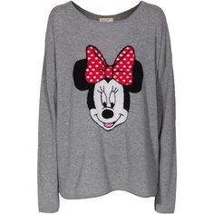 Rosa von Schmaus Minnie OS Grey Patterned cashmere sweater (665 BRL) ❤ liked on Polyvore featuring tops, sweaters, shirts, disney, oversized grey sweater, shirt sweater, print sweater, gray shirt and oversized sweaters