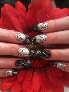 Black and white freehand nail art