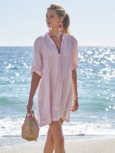 Suit up for summer. Our favorite collection of swimsuits to pack for paradise. Shop one-pieces, bikinis, rash guards and cover ups in our Swim Shop. Pink Wardrobe, Summer Wardrobe, Chevron Dress, Paisley Dress, Striped Linen, Linen Dresses, Chambray, Spring Summer Fashion, Summer Outfits