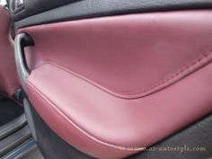 """Recaro seats, door cards, gear gaiter, hand brake gaiter and steering wheel was covered in leather """"Wild Berry"""" by our team. Golf 4, New Golf, Vw Golf Mk4, Volkswagen Golf, Volkswagen Models, Leather Interior, Golf Tips, Pure Products, Motors"""