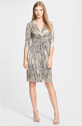 Limited supply Donna Ricco Python Print Front Twist Jersey Dress Deals Superior