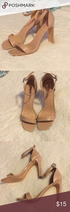 Nude Strappy Heels Only worn once- look brand new! Super cute and go with everything! JustFab Shoes Heels