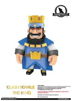 """THE KING IS HERE! I've played nearly 3 months of Clash Royale. If you ever met me on clash royale as """"siamba"""", nice too meet you o. Paper Toys, Paper Crafts, Clash Games, Papercraft Download, King Do, Royal Party, Origami Tutorial, Paper Models, Clash Of Clans"""