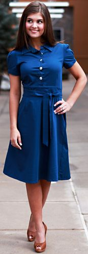 A-line skirt, pleated puff sleeves, great blue