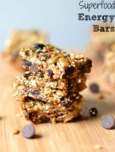 Delicious superfood energy bars are packed full of nutrients and sweetened with honey and just a little touch of chocolate
