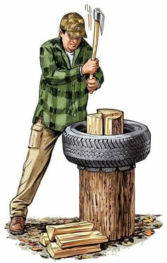 Outdoor Skills: Used Tires to Make a Better Chopping Block Camping Survival, Survival Tips, Survival Skills, Survival Stuff, Survival Quotes, Outdoor Projects, Wood Projects, Wood Chopping Block, Used Tires