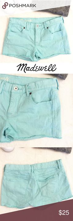 JUST IN MADEWELL Light Blue Colored Cutoff Shorts Perfect for spring light blue colored cutoff shorts from Madewell, in fabulous condition. Approx Measurements: 8 inch rise, 2 inch inseam, 10 inch length Madewell Shorts Jean Shorts