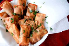 Baked, homemade pizza rolls.