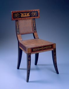 Benjamin Henry Latrobe (American, Philadelphia, 1764 – 1820) | Chair | ca. 1808 | Painted and gilded yellow poplar, oak, maple, white pine, and cane | Purchase with funds from the Decorative Arts Endowment | 1984.47 V