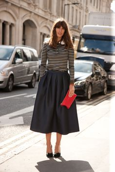 Laura Jackson wears the Simona Jacquard full skirt with a striped knit during London Fashion Week