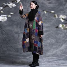C509 Chinese Folk Style Fur V Collar Women Long Floral Cotton-Padded Coat Jacket