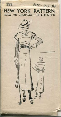 Vintage Sewing Pattern - ERA: 30s  Pattern Publisher: New York  Pattern Number: 244  20 Bust 38