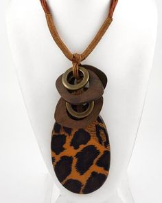 Brown Leopard Print Acrylic / Brown Cord / Brown Wood / Lead Compliant / Oval Pendant Necklace & Earring Set
