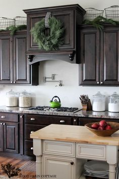 Kitchen ready for Christmas by The Wood Grain Cottage