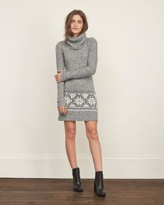 Womens Cowlneck Sweater Dress