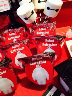 Marshmallow pops at a Big Hero 6 birthday party! See more party planning ideas at CatchMyParty.com!