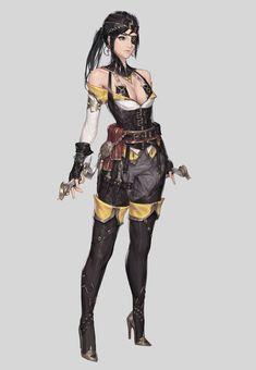 by Cotta - Concept Artist Female Character Design, Character Design References, Character Design Inspiration, Game Character, Character Concept, Concept Art, Fantasy Fighter, Fantasy Armor, Medieval Fantasy