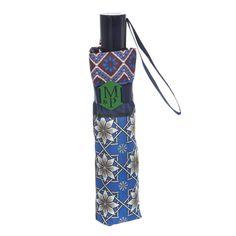 Paraguas originales online. Paraguas MP patchwork mujer azul. Plegable y antiviento sistema windproof. Apertura y cierre automático. Ligero compacto. Alto 28 cm