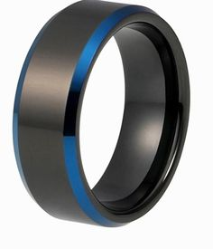 Men's Black Tungsten Wedding Band.  The Nightfall has a high polished black plated mirror finish. The blue plated beveled edges accent with shine to make this ring pop.   It's comfortable with its comfort fit design while looking incredible at the same time. The ring comes 8mm band width.  Also available 6-12mm and 1/4
