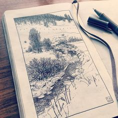 Drawing of a mountain creek in the snowy Swiss Alps. Oberengadin Switzerland