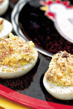 Barbecue Deviled Eggs - Our Best Barbecue Side Dishes - Southernliving. Recipe: Barbecue Deviled Eggs This is the best of both… Barbecue Sides, Barbecue Side Dishes, Barbecue Recipes, Pork Barbecue, Tailgating Recipes, Barbecue Sauce, Egg Recipes, Side Dish Recipes, Appetizer Recipes