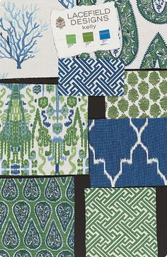 Trendy Ideas For Living Room Blue Rug Inspiration Blue And Green Living Room, Green Rooms, Enchanted Home, Fabric Combinations, Trendy Bedroom, Green Fabric, Fabric Wallpaper, Fabric Patterns, Mixing Patterns