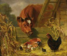 24 x 24 Chickens Farm Cow Tile Mural Kitchen Wall Backsplash Ceramic 2560 Farm Paintings, Cross Paintings, Animal Paintings, Ceramic Tile Art, Mosaic Pictures, Wall Pictures, Wall Photos, Farm Art, Cow Art