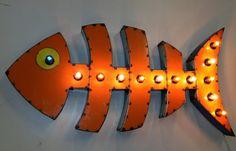 Fish Bones Vintage Industrial Metal Sign by HighVoltageStudio, $445.00