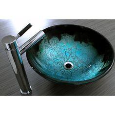 Guest Bathroom Sink!!!  Kingston Brass Glass Vessel Sink in Turquoise-HEVSPFH6…