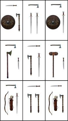 Viking loadouts I guess. Cosplay Weapons, Ninja Weapons, Viking Sword, Viking Ship, Inspiration Drawing, Types Of Swords, Armadura Medieval, Viking Life, Medieval Weapons
