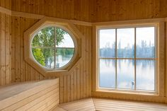 Sauna with a wondeful lake view Swedish Sauna, Finnish Sauna, Scandinavian Interior Design, Saunas, Lake View, Interior Design Inspiration, Villa, Real Estate, Backyard