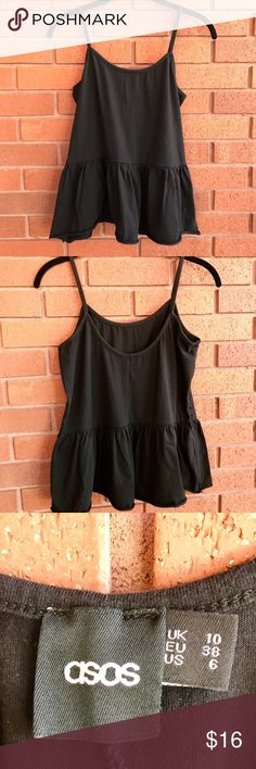 ASOS Black Ruffled Tank Super cute ASOS tank with ruffle details on bottom in excellent used condition. Sorry, no trades. ASOS Tops Tank Tops