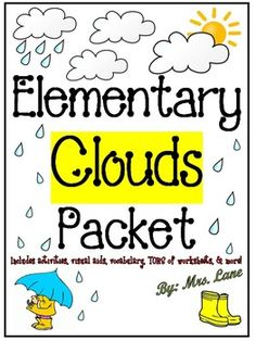 This packet contains TONS of fabulous items to teach and/or enrich your cloud unit. From activities and games, vocabulary and science experiments, handouts and posters, to worksheets and assessments, and MORE! There are SOOOO MANY things to do that you can pretty much just sort through them and pick-and-choose what you want to do based upon the individual needs of your specific class and/or group of students. *Don't let the price scare you!
