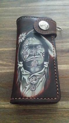 Handmade tooled biker wallet €85,00
