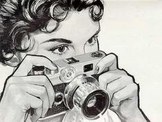 awesome, black and white, camera, drawing, vintage - Camera Girls With Cameras, Drawings, Retro Art, Camera Drawing, Black And White Drawing, Black And White, Vintage Pictures, Vintage Drawing, Vintage