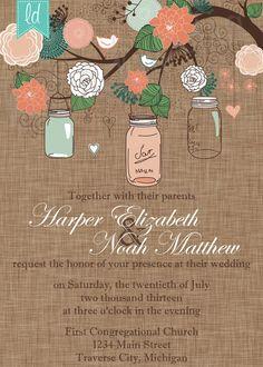 Mason Jar Wedding Invitation Printable by LeesaDykstraDesigns