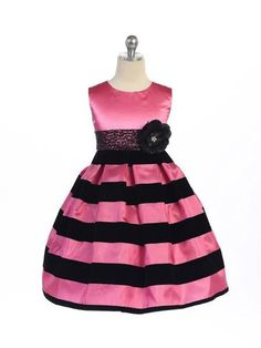 Crayon Kids Girls Black and Fuchsia Pink Stripe Velvet Dress  #clothes #onlinestore #shoppingonline #canada #instagram #fashion #shopping #canadaonline #kidsclothes #instalikes