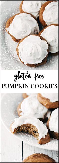 The BEST Gluten Free Pumpkin Cookies ever! So soft and yummy! #glutenfreepumpkincookies #glutenfreebaking #glutenfreedessert
