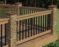This Beautiful Deck Railing Consists Of Stone Pillars, Vertical Aluminum,  And Wood Rails.
