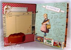 Dar's Crafty Creations: Crafty Secrets Kitchen Memories Album. Bread Girl and recipe paper are from Vintage Kitchen Digital Kit and some are from the Retro Kitchen Digital Kit