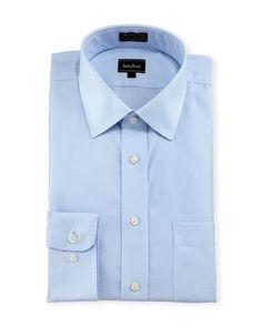 Neiman Marcus Classic-Fit Non-Iron Micro-Check Dress Shirt, Blue, Men's, Size: 15.5 34/35