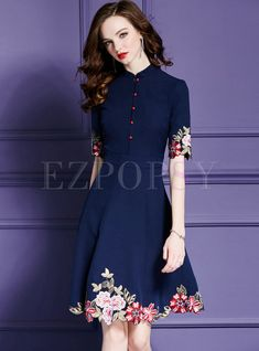 Embroidery Stand Collar Short Sleeve Cheongsam A-Line skater Dress Modest Dresses, Elegant Dresses, Beautiful Dresses, Casual Dresses, Skater Dresses, Embroidery Fashion, Embroidery Dress, Business Casual Outfits For Women, Batik Dress