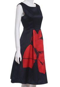 Navy Semiformal Sleeveless Floral Flare Tank Dress Sundress -SheIn(Sheinside)