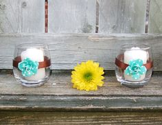Votive Candle Holder / Turquoise Blue and by CarolesWeddingWhimsy, $19.99, set of 6, Turquoise Blue and Chocolate Brown Polka Dot Sweet Sixteen Birthday Party Votive Candle Holder.  Look for our solid turquoise blue votives too.....Fabulous Sweet Sixteen Birthday Party Decoration.  .....Check them out at https://www.etsy.com/listing/130586199/votive-candle-holder-turquoise-blue-and